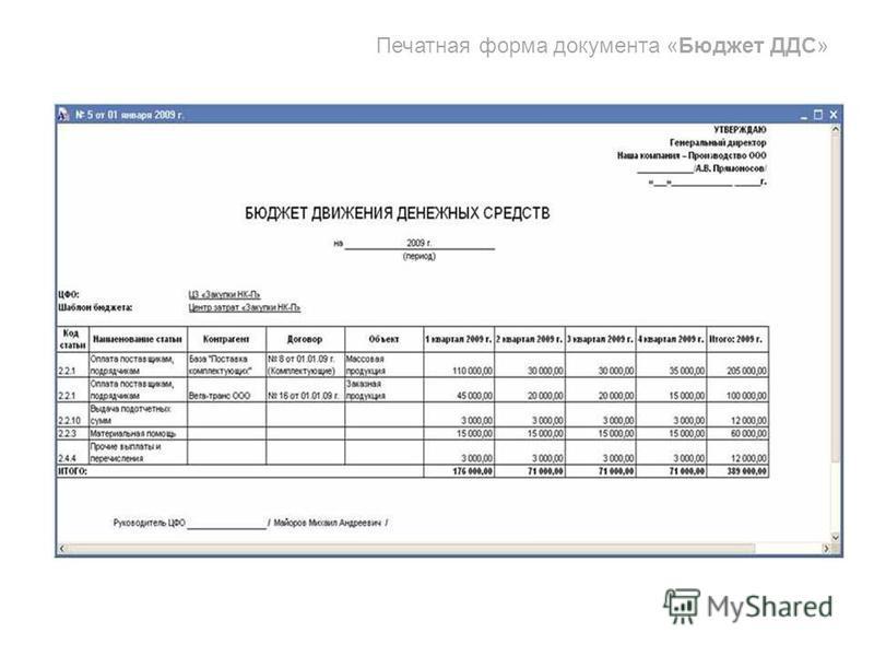 Печатная форма документа «Бюджет ДДС»