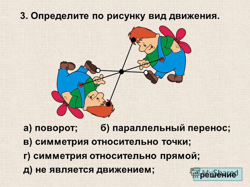 3. Определите по рисунку вид движения. а) поворот; в) симметрия относительно точки; г) симметрия относительно прямой; д) не является движением; б) параллельный перенос; решение