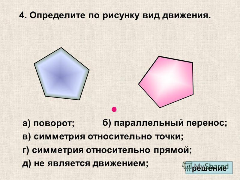 4. Определите по рисунку вид движения. а) поворот; б) параллельный перенос; в) симметрия относительно точки; г) симметрия относительно прямой; д) не является движением; решение
