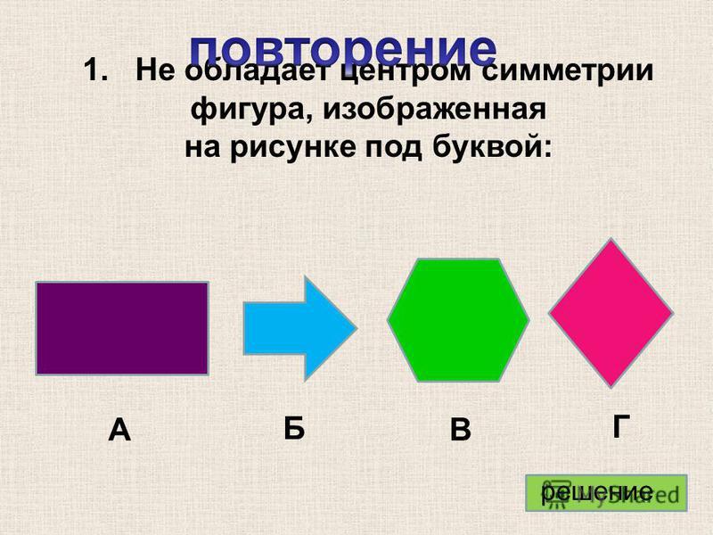 1. Не обладает центром симметрии фигура, изображенная на рисунке под буквой: А Б В Г решение