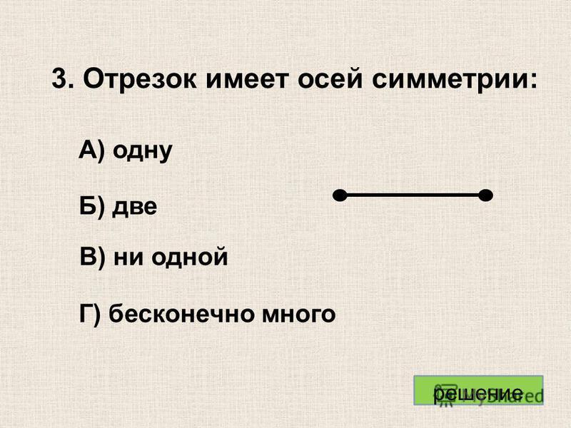 3. Отрезок имеет осей симметрии: Б) две А) одну В) ни одной Г) бесконечно много решение