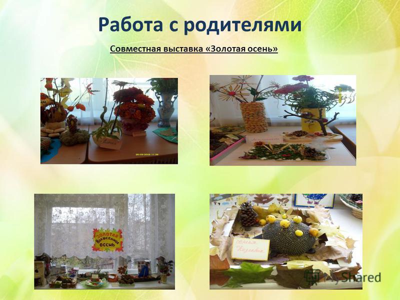 Работа с родителями Совместная выставка «Золотая осень»