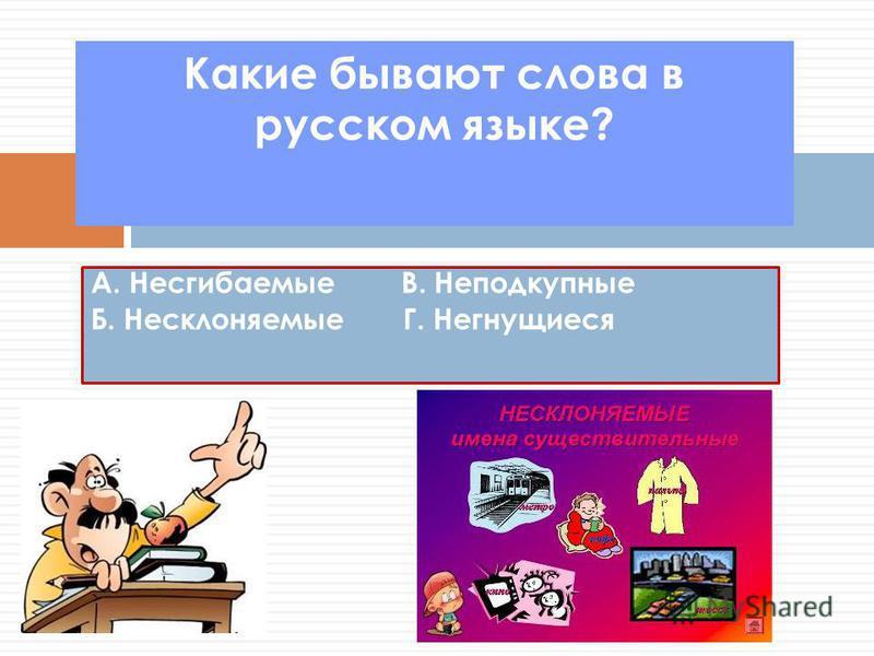 Какие бывают слова в русском языке? А. Несгибаемые В. Неподкупные Б. Несклоняемые Г. Негнущиеся
