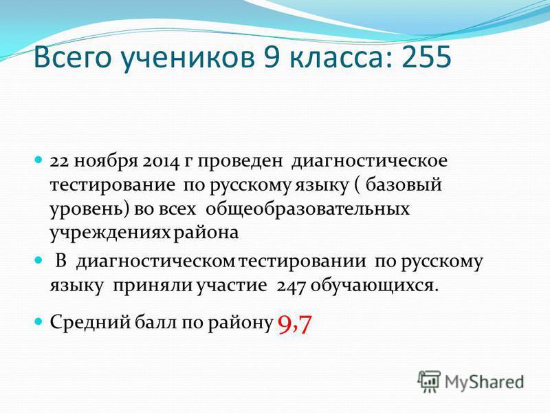 Всего учеников 9 класса: 255 22 ноября 2014 г проведен диагностическое тестирование по русскому языку ( базовый уровень) во всех общеобразовательных учреждениях района В диагностическом тестировании по русскому языку приняли участие 247 обучающихся.
