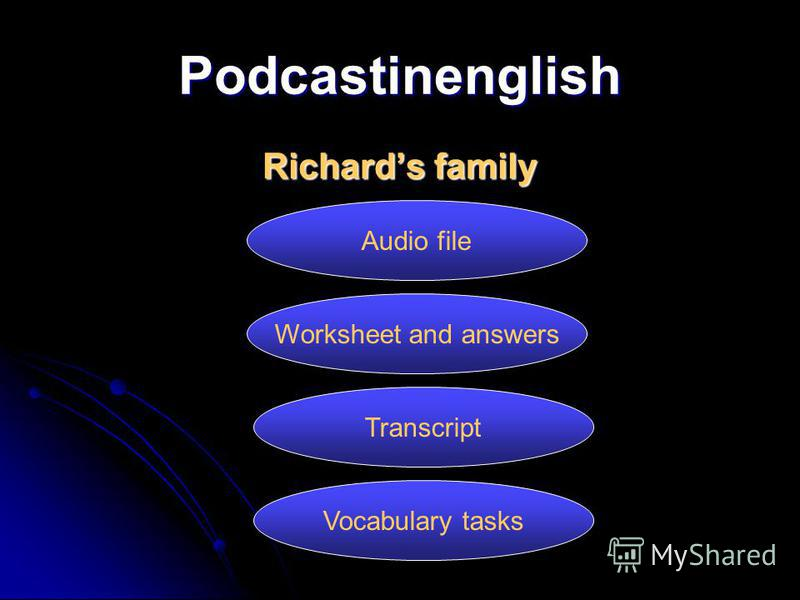 Podcastinenglish Richards family Audio file Worksheet and answers Transcript Vocabulary tasks