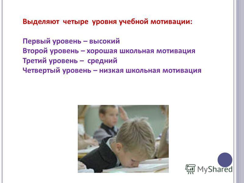 Выделяют четыре уровня учебной мотивации: Первый уровень – высокий Второй уровень – хорошая школьная мотивация Третий уровень – средний Четвертый уровень – низкая школьная мотивация