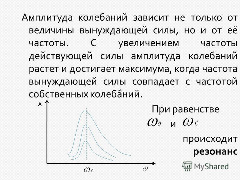 Амплитуда колебаний зависит не только от величины вынуждающей силы, но и от её частоты. С увеличением частоты действующей силы амплитуда колебаний растет и достигает максимума, когда частота вынуждающей силы совпадает с частотой собственных колебаний