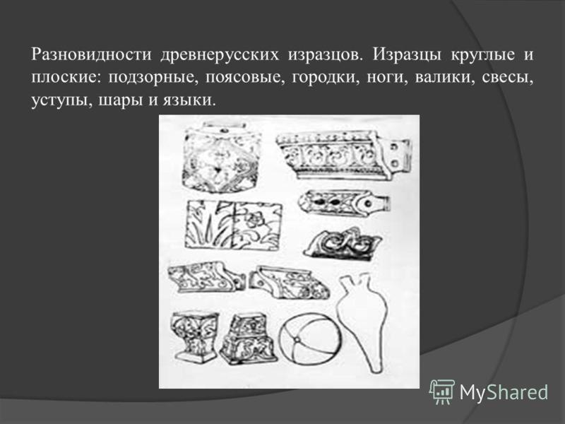 Разновидности древнерусских изразцов. Изразцы круглые и плоские: подзорные, плясовые, городки, ноги, валики, свесы, уступы, шары и языки.