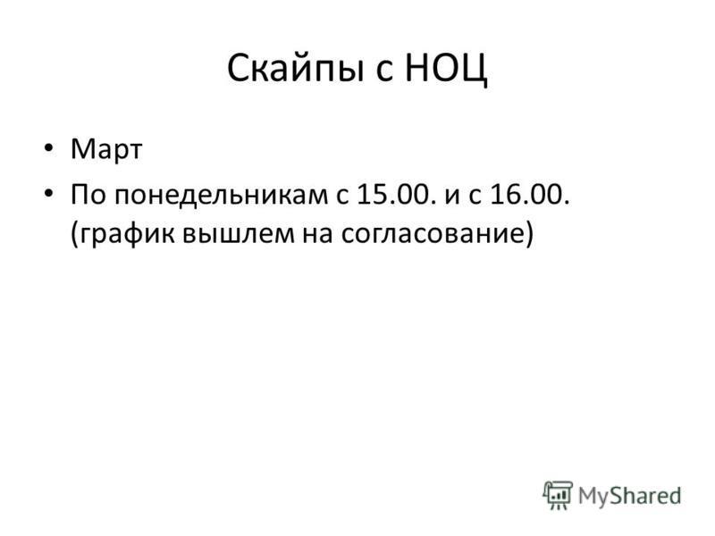 Скайпы с НОЦ Март По понедельникам с 15.00. и с 16.00. (график вышлем на согласование)