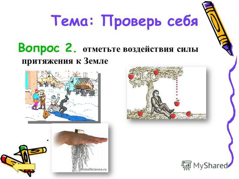 Тема: Проверь себя Вопрос 2. отметьте воздействия силы притяжения к Земле.
