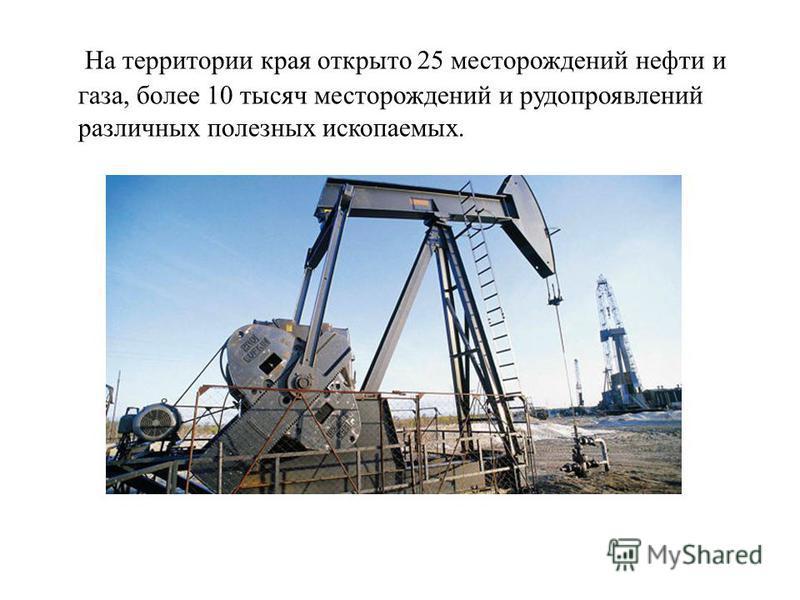 На территории края открыто 25 месторождений нефти и газа, более 10 тысяч месторождений и рудопроявлений различных полезных ископаемых.