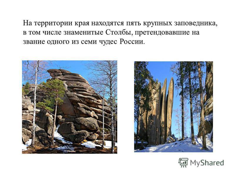 На территории края находятся пять крупных заповедника, в том числе знаменитые Столбы, претендовавшие на звание одного из семи чудес России.