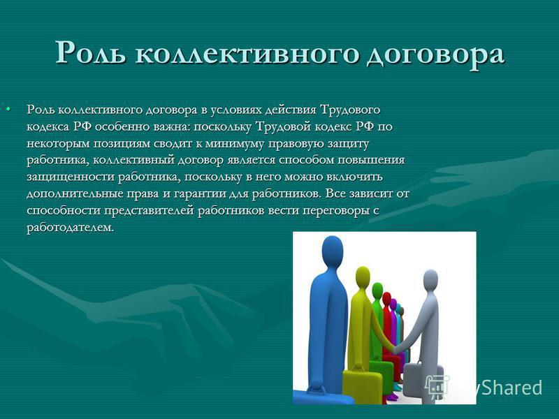 Роль коллективного договора Роль коллективного договора в условиях действия Трудового кодекса РФ особенно важна: поскольку Трудовой кодекс РФ по некоторым позициям сводит к минимуму правовую защиту работника, коллективный договор является способом по