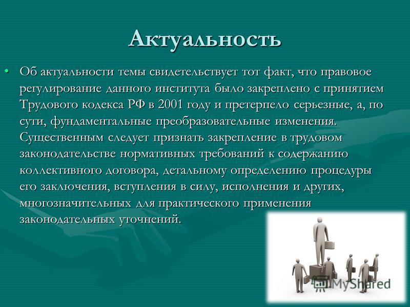 Актуальность Об актуальности темы свидетельствует тот факт, что правовое регулирование данного института было закреплено с принятием Трудового кодекса РФ в 2001 году и претерпело серьезные, а, по сути, фундаментальные преобразовательные изменения. Су