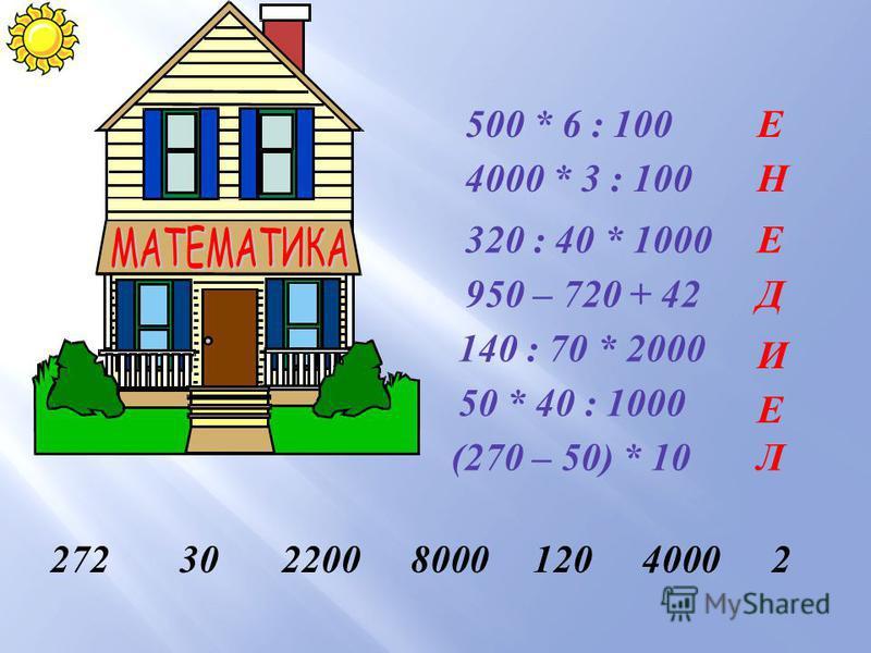 500 * 6 : 100 4000 * 3 : 100 320 : 40 * 1000 950 – 720 + 42 140 : 70 * 2000 50 * 40 : 1000 (270 – 50) * 10 Е Н Е Д И Е Л 272302200800012040002