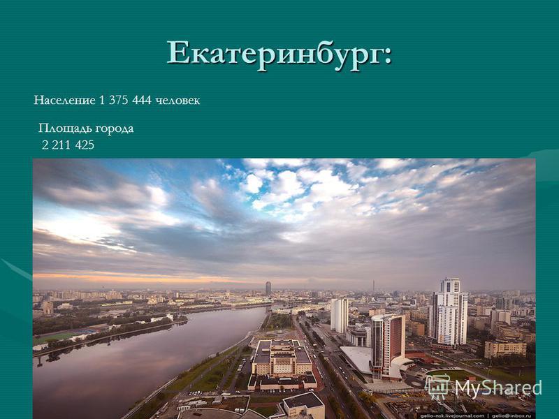 Екатеринбург: Население 1 375 444 человек Площадь города 2 211 425