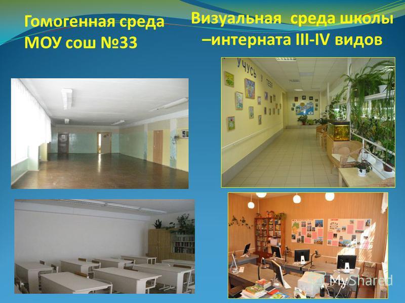 Визуальная среда школы –интерната III-IV видов Гомогенная среда МОУ сош 33