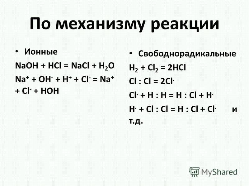 По механизму реакции Ионные NaOH + HCl = NaCl + H 2 O Na + + OH - + H + + Cl - = Na + + Cl - + HOH Свободнорадикальные H 2 + Cl 2 = 2HCl Cl : Cl = 2Cl. Cl. + H : H = H : Cl + H. H. + Cl : Cl = H : Cl + Cl. и т.д.
