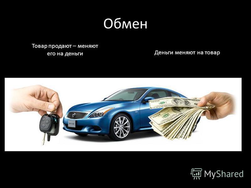 Обмен Товар продают – меняют его на деньги Деньги меняют на товар