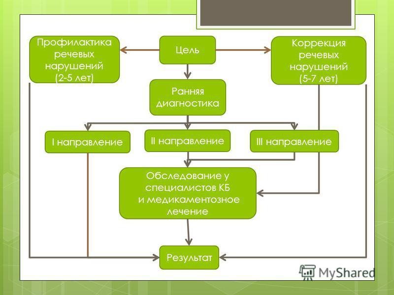 Цель Ранняя диагностика II направление I направление Профилактика речевых нарушений (2-5 лет) Коррекция речевых нарушений (5-7 лет) Обследование у специалистов КБ и медикаментозное лечение Результат III направление