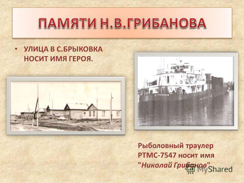 УЛИЦА В С.БРЫКОВКА НОСИТ ИМЯ ГЕРОЯ. Рыболовный траулер РТМС-7547 носит имя Николай Грибанов.