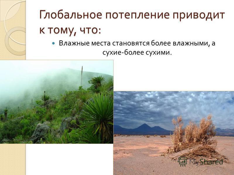 Глобальное потепление приводит к тому, что : Влажные места становятся более влажными, а сухие - более сухими.