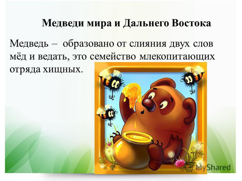Медведь – образовано от слияния двух слов мёд и ведать, это семейство млекопитающих отряда хищных.
