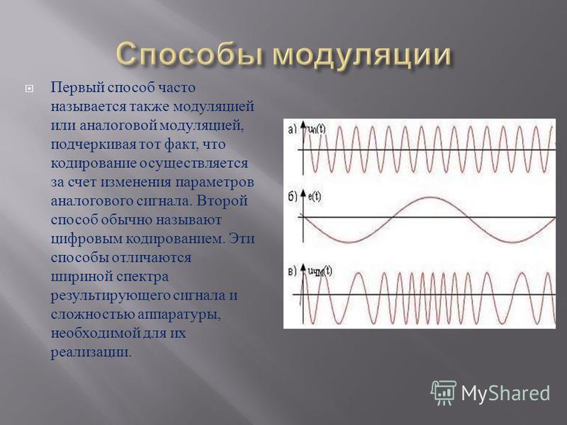 Первый способ часто называется также модуляцией или аналоговой модуляцией, подчеркивая тот факт, что кодирование осуществляется за счет изменения параметров аналогового сигнала. Второй способ обычно называют цифровым кодированием. Эти способы отличаю