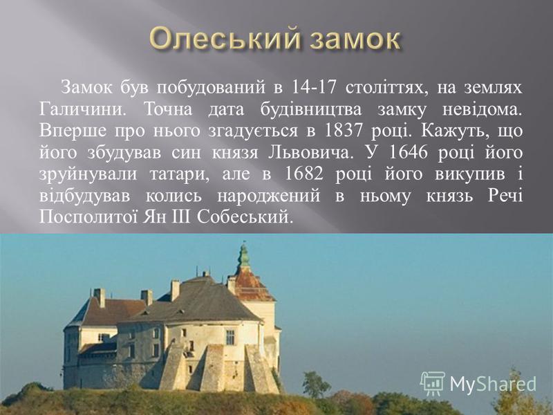 Замок був побудований в 14-17 століттях, на землях Галичини. Точна дата будівництва замку невідома. Вперше про нього згадується в 1837 році. Кажуть, що його збудував син князя Львовича. У 1646 році його зруйнували татари, але в 1682 році його викупив