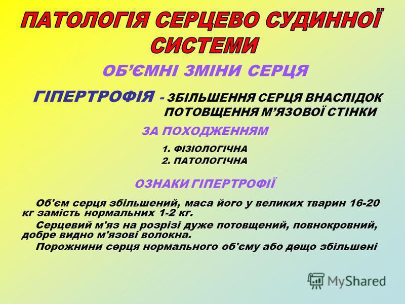 ОБЄМНІ ЗМІНИ СЕРЦЯ ГІПЕРТРОФІЯ - ЗБІЛЬШЕННЯ СЕРЦЯ ВНАСЛІДОК ПОТОВЩЕННЯ МЯЗОВОЇ СТІНКИ ЗА ПОХОДЖЕННЯМ 1. ФІЗІОЛОГІЧНА 2. ПАТОЛОГІЧНА ОЗНАКИ ГІПЕРТРОФІЇ Об'єм серця збільшений, маса його у великих тварин 16-20 кг замість нормальних 1-2 кг. Серцевий м'я