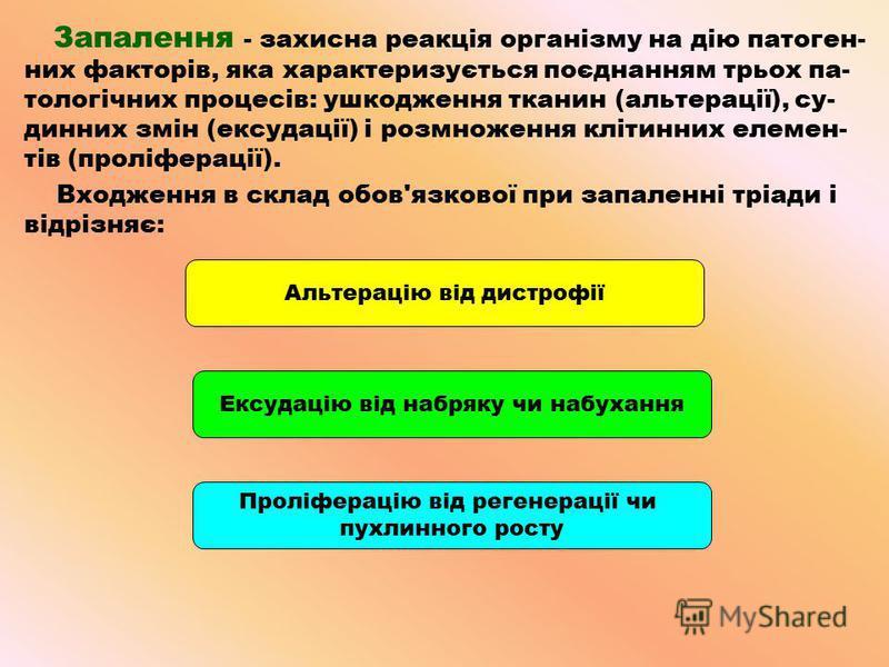 Запалення - захисна реакція організму на дію патоген- них факторів, яка характеризується поєднанням трьох па- тологічних процесів: ушкодження тканин (альтерації), су- динних змін (ексудації) і розмноження клітинних елемен- тів (проліферації). Входжен