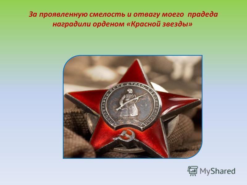 За проявленную смелость и отвагу моего прадеда наградили орденом «Красной звезды»