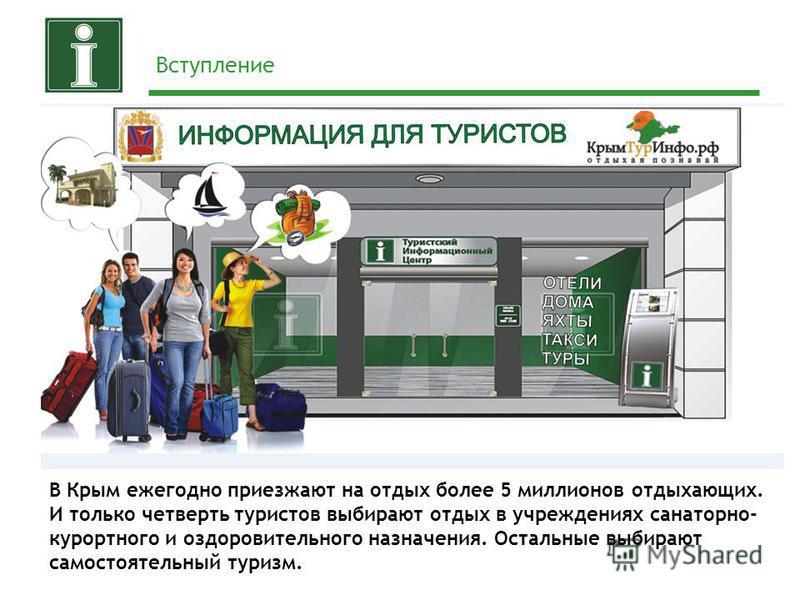 Вступление В Крым ежегодно приезжают на отдых более 5 миллионов отдыхающих. И только четверть туристов выбирают отдых в учреждениях санаторно- курортного и оздоровительного назначения. Остальные выбирают самостоятельный туризм.