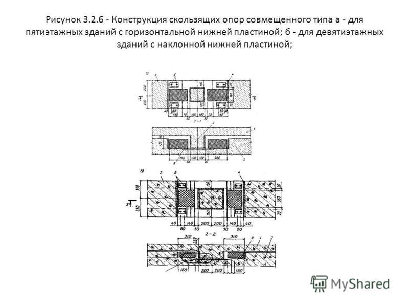 Рисунок 3.2.6 - Конструкция скользящих опор совмещенного типа а - для пятиэтажных зданий с горизонтальной нижней пластиной; б - для девятиэтажных зданий с наклонной нижней пластиной;