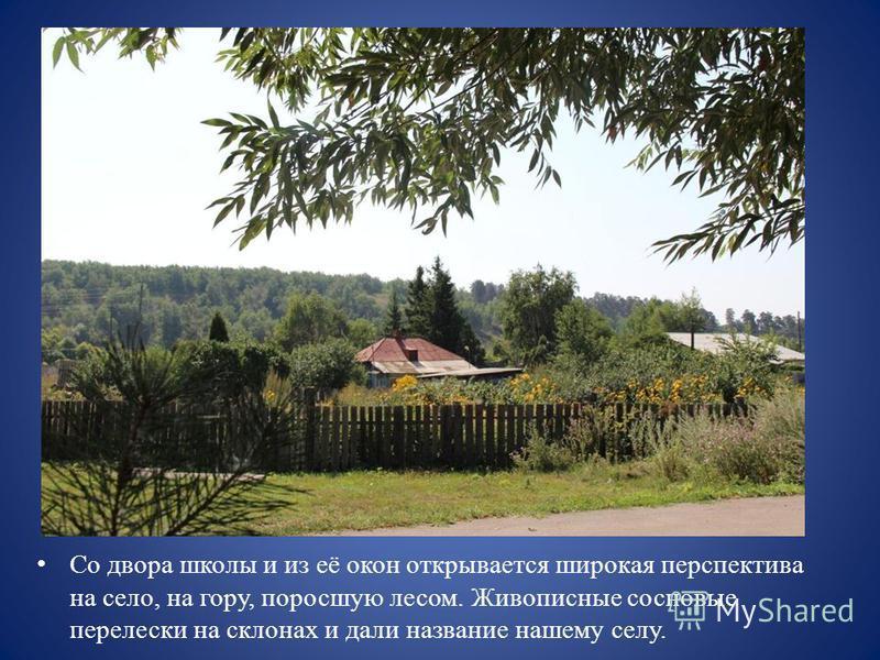 Со двора школы и из её окон открывается широкая перспектива на село, на гору, поросшую лесом. Живописные сосновые перелески на склонах и дали название нашему селу.