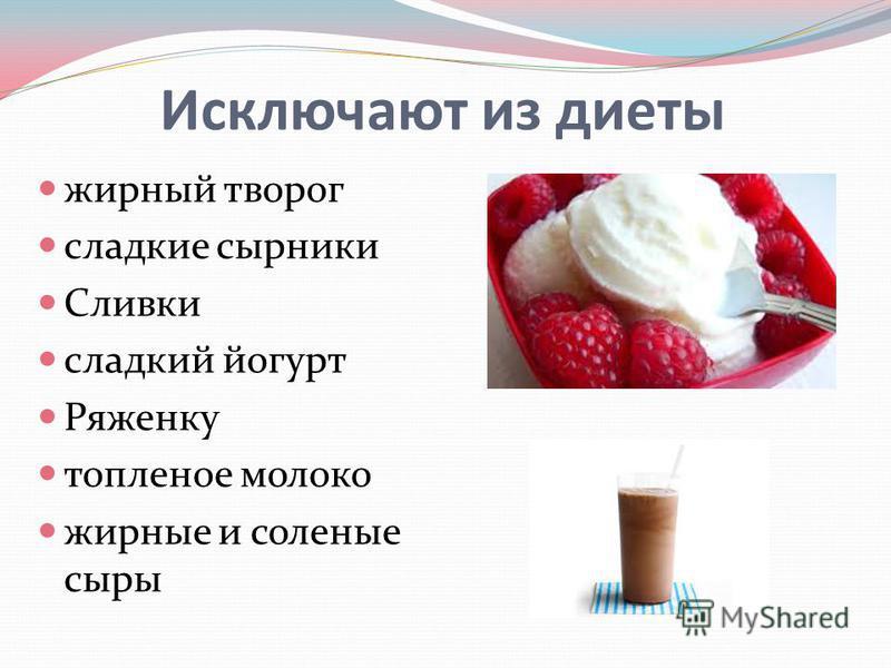 Исключают из диеты жирный творог сладкие сырники Сливки сладкий йогурт Ряженку топленое молоко жирные и соленые сыры