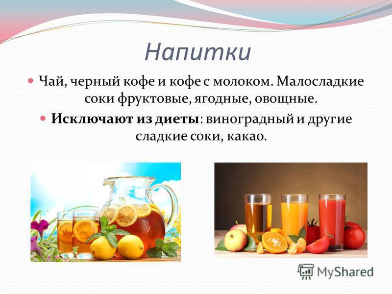 Напитки Чай, черный кофе и кофе с молоком. Малосладкие соки фруктовые, ягодные, овощные. Исключают из диеты: виноградный и другие сладкие соки, какао.