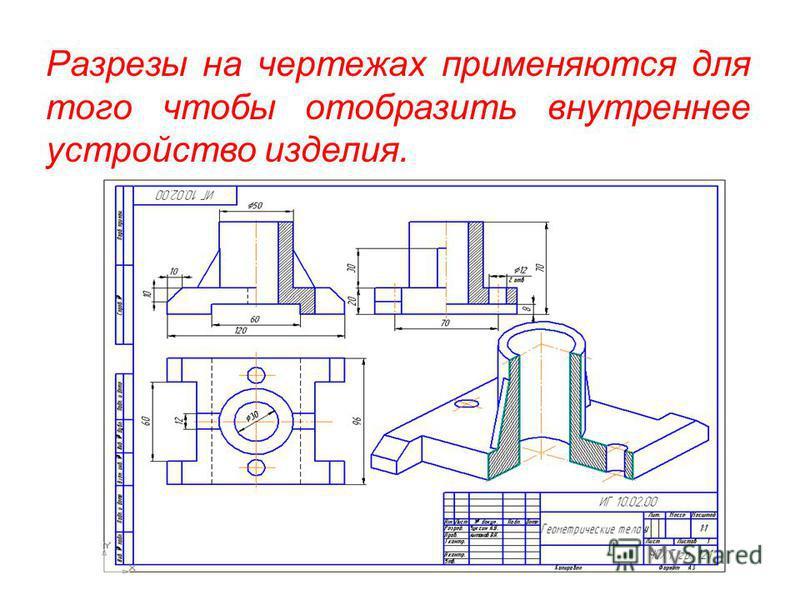 Разрезы на чертежах применяются для того чтобы отобразить внутреннее устройство изделия.