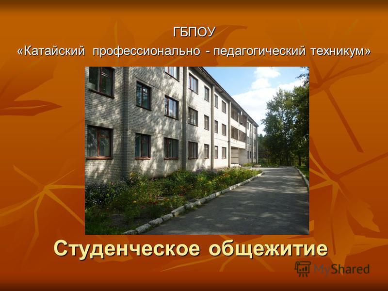 Студенческое общежитие ГБПОУ «Катайский профессионально - педагогический техникум»