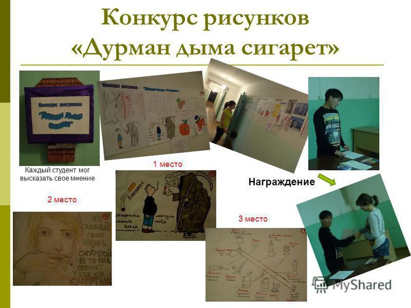 Конкурс рисунков «Дурман дыма сигарет» Награждение 1 место 2 место 3 место Каждый студент мог высказать свое мнение
