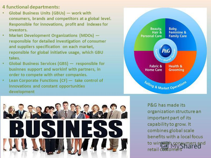 P&G has made its organization structure an important part of its capability to grow. It combines global scale benefits with a local focus to win with consumers and retail customers 4 functional departments: Global Business Units (GBUs) work with cons