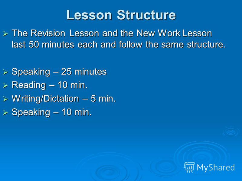 Lesson Structure The Revision Lesson and the New Work Lesson last 50 minutes each and follow the same structure. The Revision Lesson and the New Work Lesson last 50 minutes each and follow the same structure. Speaking – 25 minutes Speaking – 25 minut