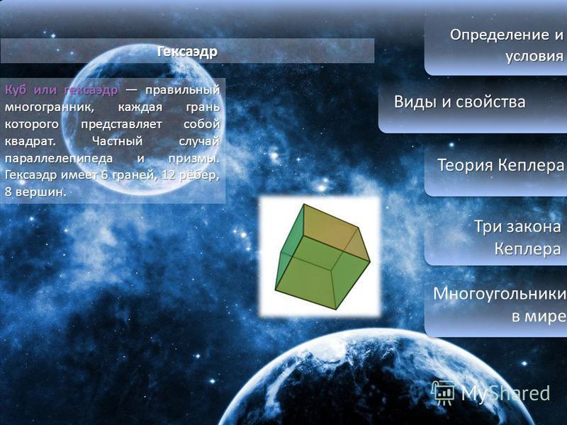 Определение и условия Виды и свойства Виды и свойства Теория Кеплера Теория Кеплера Три закона Кеплера Три закона Кеплера Многоугольники в мире Гексаэдр Куб или гексаэдр правильный многогранник, каждая грань которого представляет собой квадрат. Частн