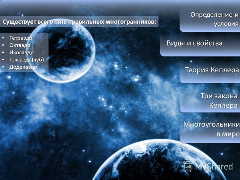 Определение и условия Виды и свойства Виды и свойства Теория Кеплера Теория Кеплера Три закона Кеплера Три закона Кеплера Многоугольники в мире Существует всего пять правильных многогранников: Тетраэдр Тетраэдр Октаэдр Октаэдр Икосаэдр Икосаэдр Гекса