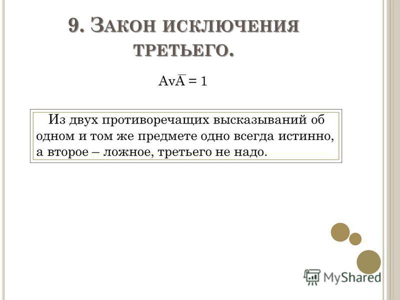 9. З АКОН ИСКЛЮЧЕНИЯ ТРЕТЬЕГО. AvA = 1 Из двух противоречащих высказываний об одном и том же предмете одно всегда истинно, а второе – ложное, третьего не надо.