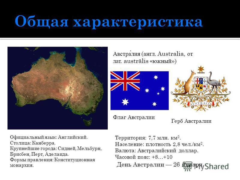 Австралия (англ. Australia, от лат. austrālis «южный») Флаг Австралии Герб Австралии Официальный язык: Английский. Столица: Канберра. Крупнейшие города: Сидней, Мельбурн, Брисбен, Перт, Аделаида. Формы правления: Конституционная монархия. Территория: