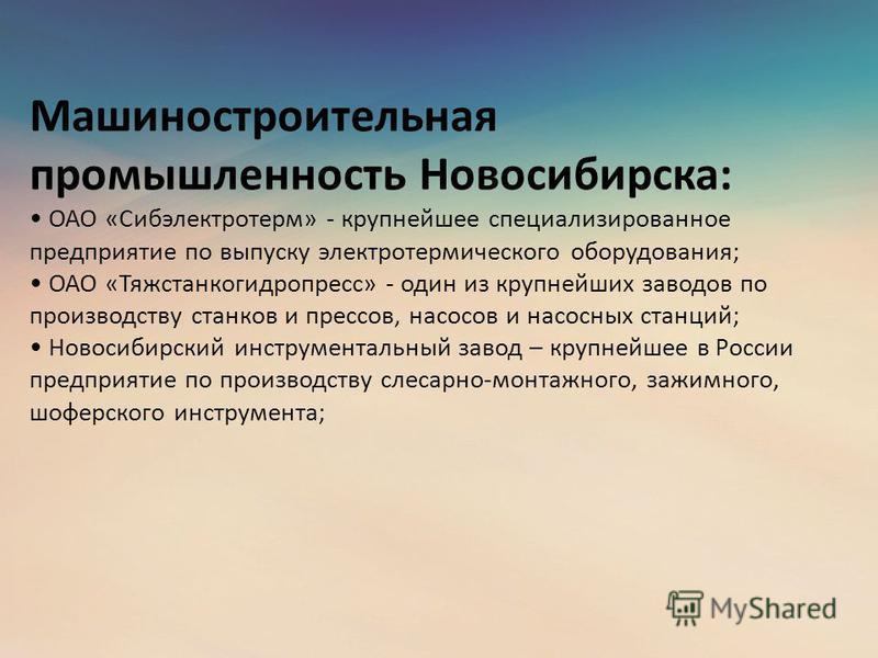 Машиностроительная промышленность Новосибирска: ОАО «Сибэлектротерм» - крупнейшее специализированное предприятие по выпуску электротермического оборудования; ОАО «Тяжстанкогидропресс» - один из крупнейших заводов по производству станков и прессов, на