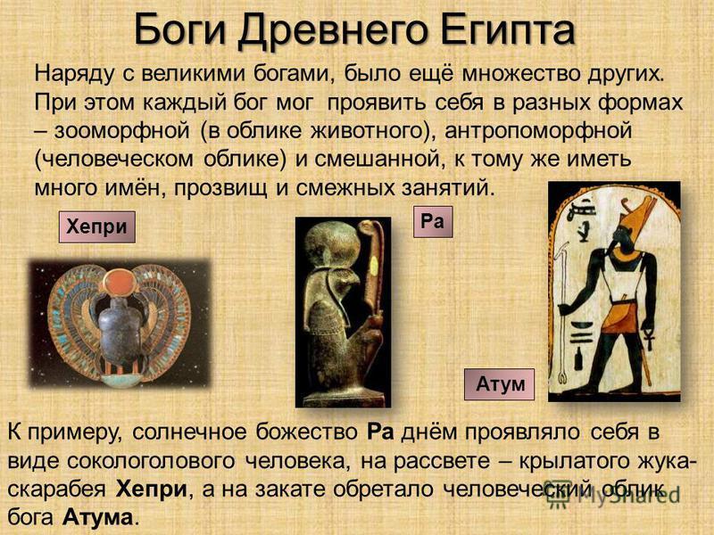 Боги Древнего Египта Наряду с великими богами, было ещё множество других. При этом каждый бог мог проявить себя в разных формах – зооморфной (в облике животного), антропоморфной (человеческом облике) и смешанной, к тому же иметь много имён, прозвищ и