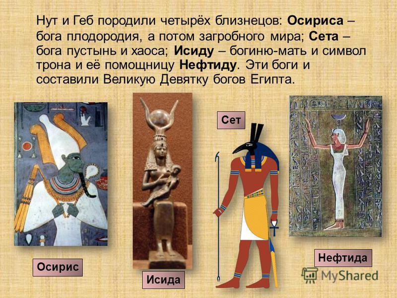 Нут и Геб породили четырёх близнецов: Осириса – бога плодородия, а потом загробного мира; Сета – бога пустынь и хаоса; Исиду – богиню-мать и символ трона и её помощницу Нефтиду. Эти боги и составили Великую Девятку богов Египта. Осирис Исида Сет Нефт