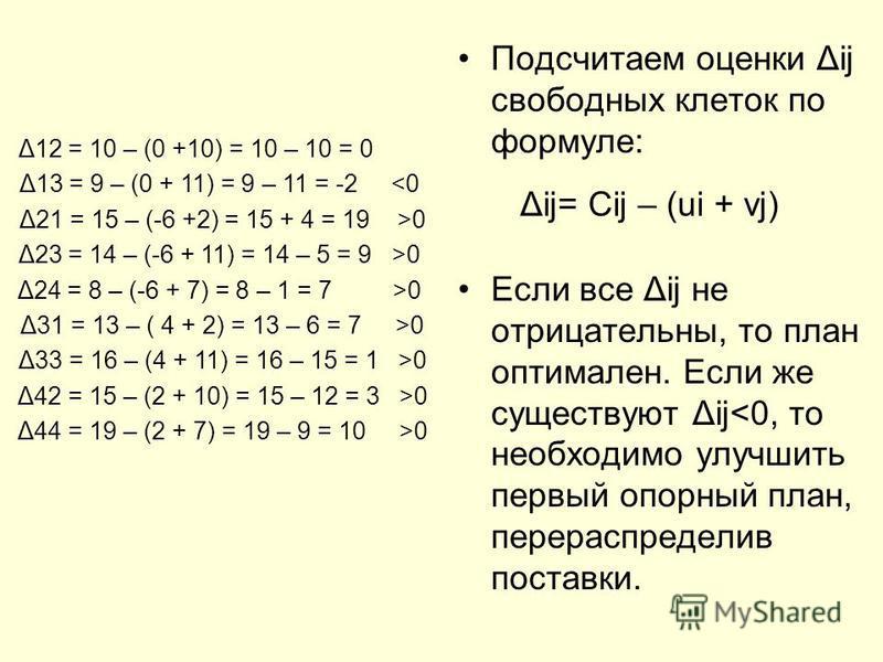Подсчитаем оценки Δij свободных клеток по формуле: Если все Δij не отрицательны, то план оптимален. Если же существуют Δij<0, то необходимо улучшить первый опорный план, перераспределив поставки. Δij= Cij – (ui + vj) Δ12 = 10 – (0 +10) = 10 – 10 = 0